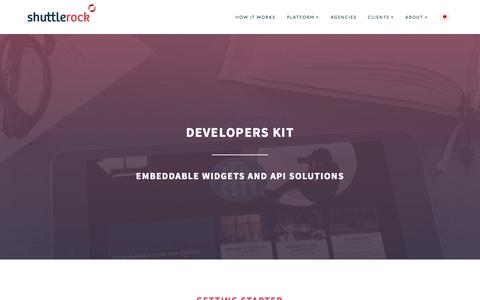 Screenshot of Developers Page shuttlerock.com - Developers Kit - Shuttlerock - captured Nov. 23, 2015