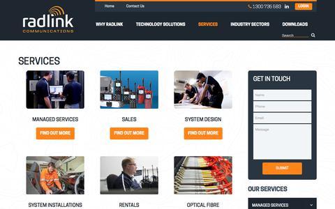 Screenshot of Services Page radlink.com.au - Services | Radlink Communications - captured Oct. 19, 2017