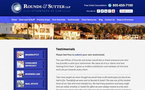 Screenshot of Testimonials Page roundsandsutter.com - Testimonials - Rounds & Sutter LLP - Ventura County, CA - captured Oct. 19, 2018