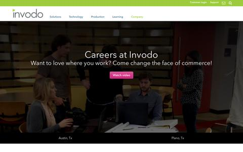 Screenshot of Jobs Page invodo.com - Invodo Jobs - Come Join the Team! - captured Oct. 1, 2015