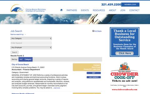 Screenshot of Jobs Page cocoabeachchamber.com - Job Search - Cocoa Beach Regional Chamber of Commerce - captured Dec. 28, 2016
