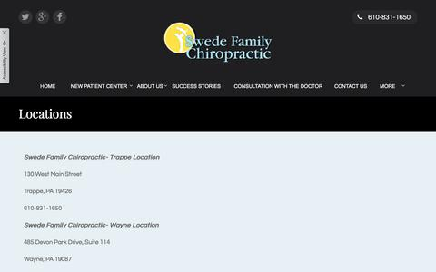 Screenshot of Locations Page swedefamilychiropractic.com - Swede Family Chiropractic - Chiropractor in Trappe; PA; US :: Locations - captured Sept. 21, 2018