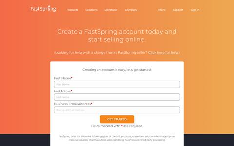 Screenshot of Signup Page fastspring.com - Sign Up | FastSpring - captured March 15, 2018