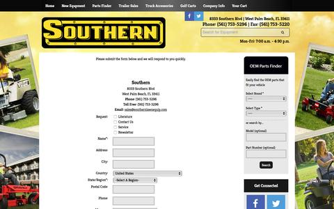 Screenshot of Contact Page southernlawnequip.com - Contact Us Southern West Palm Beach, FL (561) 753-5296 - captured Nov. 8, 2017
