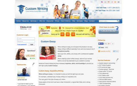 Screenshot of Services Page custom-writing.org - Custom Essay Writing Service: Starting at $16/page. Free Plagiarism Report! - captured Oct. 3, 2014