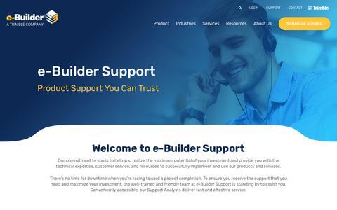 Screenshot of Support Page e-builder.net - Support - e-Builder - captured June 15, 2019