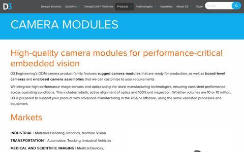 Screenshot of Products Page d3engineering.com - Camera Modules - D3 Engineering - captured Nov. 6, 2018