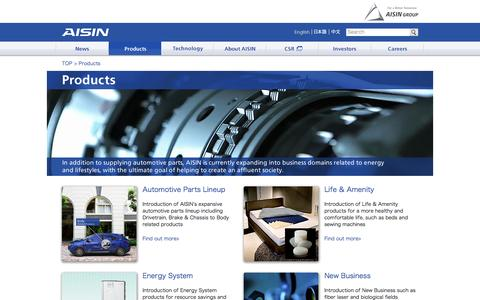 Screenshot of Products Page aisin.com - Products | Aisin Seiki Global Website - captured Dec. 22, 2015