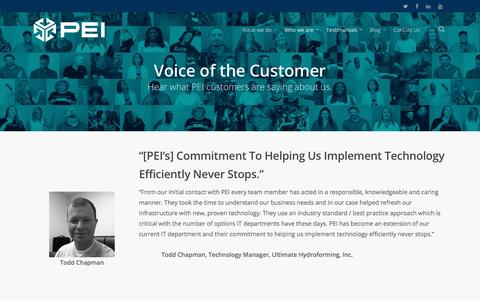Screenshot of Testimonials Page pei.com - Voice of the Customer - PEI - captured July 9, 2016