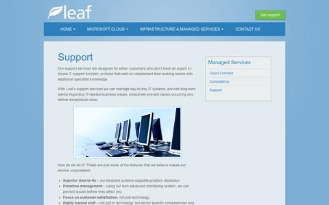 Screenshot of Support Page leafconsultancy.com - Support - Leaf ConsultancyLeaf Consultancy - captured Oct. 2, 2014
