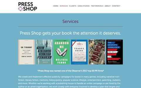 Screenshot of Services Page pressshoppr.com - Services — Press Shop - captured July 21, 2018
