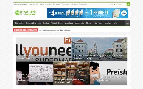 Screenshot of Home Page startups-im-internet.de - Startups im Internet | Interessante und kreative Internet Startups - captured June 11, 2016