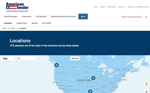 Screenshot of Locations Page americancooler.us - Locations - American Cooler - captured Dec. 18, 2018