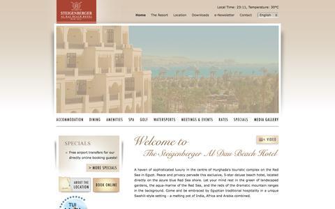 Screenshot of Home Page steigenbergeraldaubeach.com - Steigenberger Al Dau Beach Hotel: 5 star luxury Red Sea resort in Hurghada, Egypt - captured Sept. 19, 2014