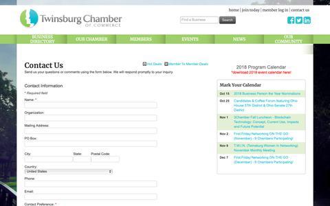 Screenshot of Contact Page twinsburgchamber.com - Contact Us - Twinsburg Chamber of Commerce, OH - captured Oct. 20, 2018