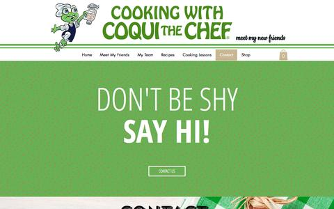 Screenshot of Contact Page coquithechef.com - Coqui the Chef | Contact and Connect - captured May 21, 2017