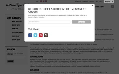 Screenshot of Support Page naturalspafactory.com - Customer Service - captured Jan. 10, 2016