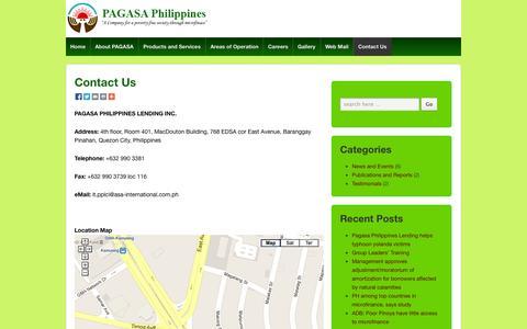 Screenshot of Contact Page asa-international.com.ph - Contact Us | Pagasa Philippines Lending Company, Inc. - captured Oct. 1, 2014