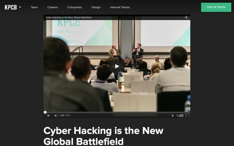 Screenshot of kpcb.com - Cyber Hacking is the New Global Battlefield  — Kleiner Perkins Caufield Byers - captured March 20, 2016