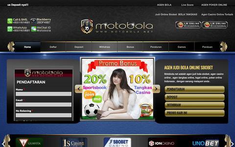Screenshot of Home Page motobola.net - Judi Online |Agen judi Bola sbobet | agen casino online - captured Jan. 20, 2016