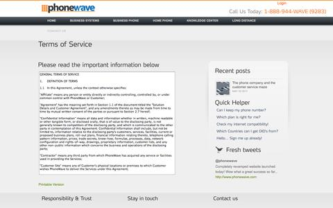 Screenshot of Terms Page phonewave.com - Telair Communications | Hello Starts Here - captured Sept. 29, 2014