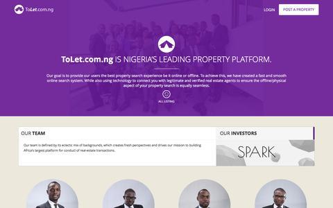 Screenshot of About Page tolet.com.ng - About us - ToLet.com.ng - captured Jan. 14, 2016