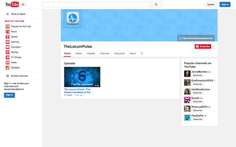Screenshot of YouTube Page youtube.com - TheLocumPulse  - YouTube - captured Oct. 26, 2014