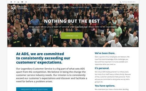 Screenshot of FAQ Page adsinc.com - The ADS Difference - captured May 28, 2017