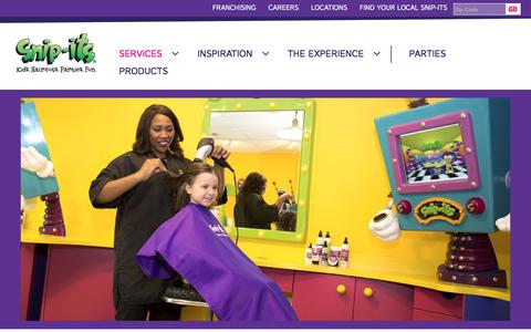 Screenshot of Services Page snipits.com - Snip-its Salon for Kids | Services - captured Sept. 1, 2016