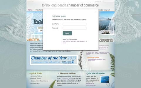 Screenshot of Login Page tofinochamber.org - The Tofino-Long Beach Chamber of Commerce - captured Oct. 6, 2014