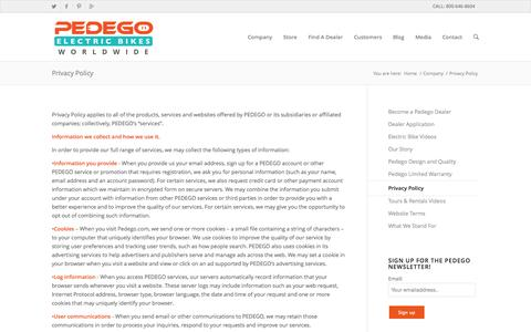 Screenshot of Privacy Page pedegoelectricbikes.com - Privacy Policy - Pedego Electric Bikes - captured Sept. 22, 2014