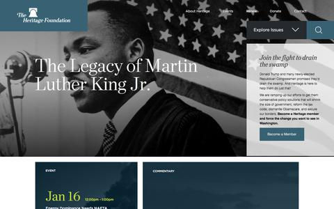 Screenshot of Home Page heritage.org - The Heritage Foundation - captured Jan. 14, 2018
