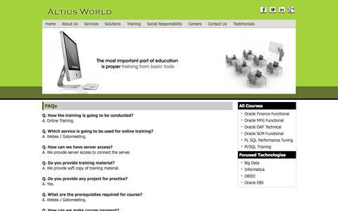 Screenshot of FAQ Page altiusworld.com - Altius World - captured July 25, 2016