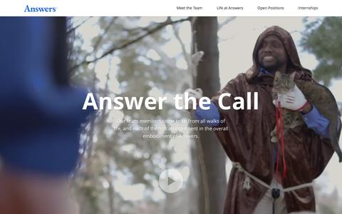 Screenshot of Jobs Page answers.com - Careers at Answers - Answer the call - captured Feb. 2, 2016