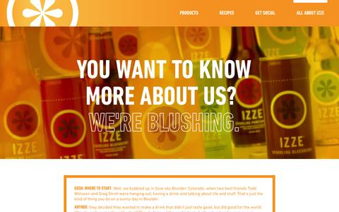 Screenshot of About Page izze.com - About | IZZE - captured Sept. 23, 2014