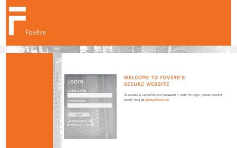 Screenshot of Home Page fovere.ca - Login - captured Oct. 6, 2014
