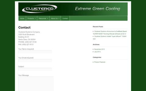 Screenshot of Contact Page clusteredsystems.com - Contact | Clustered Systems Company Inc - captured Oct. 5, 2014