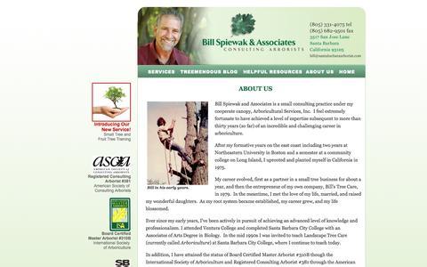 Screenshot of About Page santabarbaraarborist.com - Santa Barbara Arborist Bill Spiewak and Associates Consulting Arborists About Us - captured Oct. 5, 2014