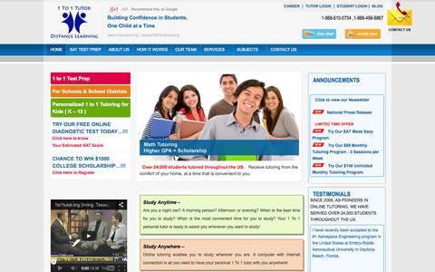 Screenshot of Home Page 1to1tutor.org - Online Math Tutor – Math Tutoring Online, Best online Maths Coaching - captured Oct. 6, 2014