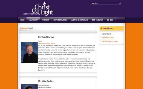 Screenshot of Team Page christourlight.net - Parish Staff - captured Oct. 2, 2014
