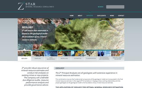 Screenshot of Services Page zstar.co.za - Geology | Zstar Mineral Resource Consultants - captured Oct. 9, 2014