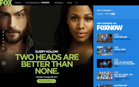 Screenshot of Home Page fox.com - FOX Broadcasting Company | Full Episodes, Shows, Schedule - captured Sept. 10, 2015