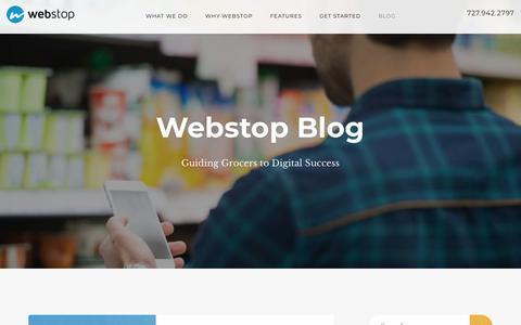 Screenshot of Blog webstop.com - Webstop Blog – Guiding Grocers to Digital Success - captured Sept. 20, 2018