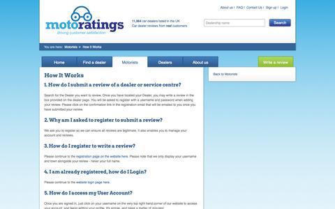 Screenshot of FAQ Page motoratings.com - How It Works | Motoratings - captured Oct. 8, 2014