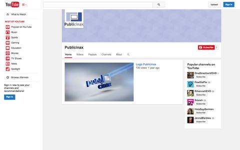 Screenshot of YouTube Page youtube.com - Publicinax  - YouTube - captured Oct. 23, 2014