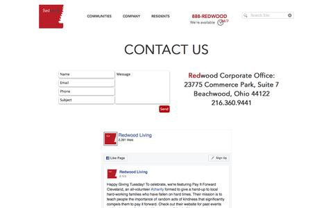 Screenshot of Contact Page byredwood.com - Redwood Contact - captured Nov. 29, 2016