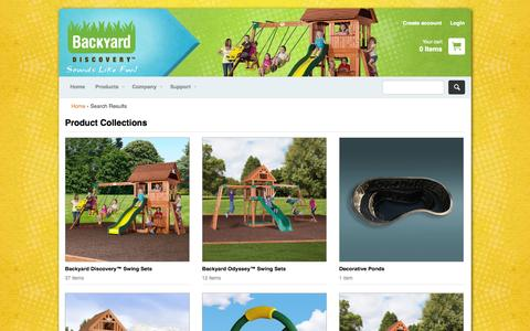 Screenshot of Products Page swingsetsonline.com - Collections – Backyard Discovery - captured Nov. 3, 2014