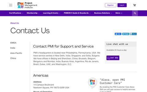 Screenshot of Contact Page pmi.org - Contact Us | Project Management Institute - captured Jan. 11, 2020