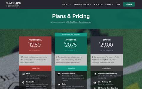 Screenshot of Signup Page blackjackapprenticeship.com - Plans And Pricing - Blackjack Apprenticeship - captured Jan. 6, 2016