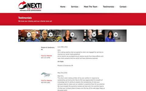 Screenshot of Testimonials Page nextadagency.com - Testimonials | NEXT! Ad Agency - captured Aug. 13, 2016
